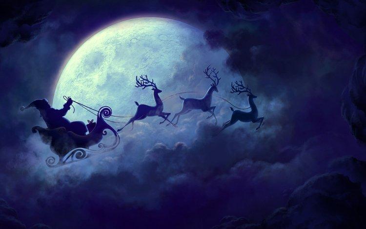 the sky, clouds, the moon, sleigh, deer, christmas, team, santa claus, chariot