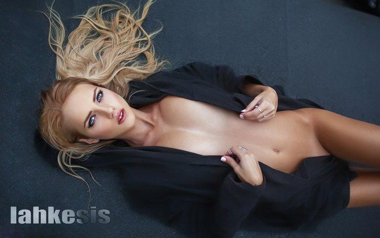 girl, blonde, look, lies, model, floor, large, tits, on the floor