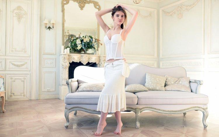 girl, brunette, skirt, model, room, sofa, corset, caramel, barefoot
