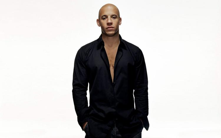 look, actor, face, white background, shirt, vin diesel