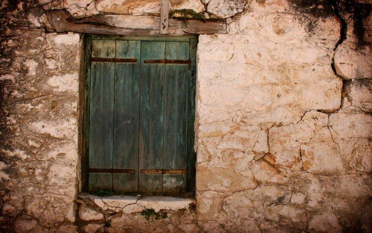 стена, трещины, здание, окно, ставни, wall, cracked, the building, window, shutters