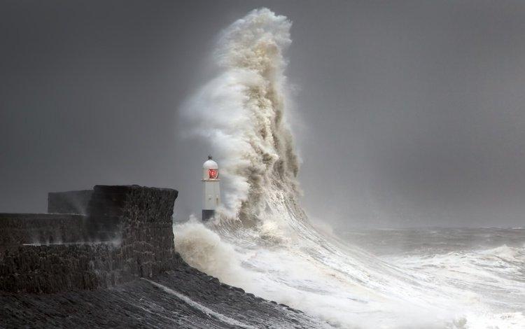 берег, маяк, волна, shore, lighthouse, wave