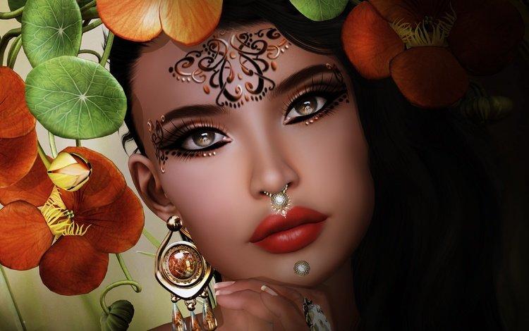 глаза, лицо, цветы, макияж, украшения, девушка, фон, портрет, взгляд, губы, eyes, face, flowers, makeup, decoration, girl, background, portrait, look, lips