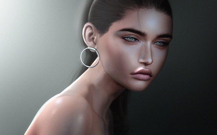 глаза, голое плечо, девушка, фон, взгляд, волосы, губы, лицо, сёрьги, eyes, bare shoulder, girl, background, look, hair, lips, face, earrings