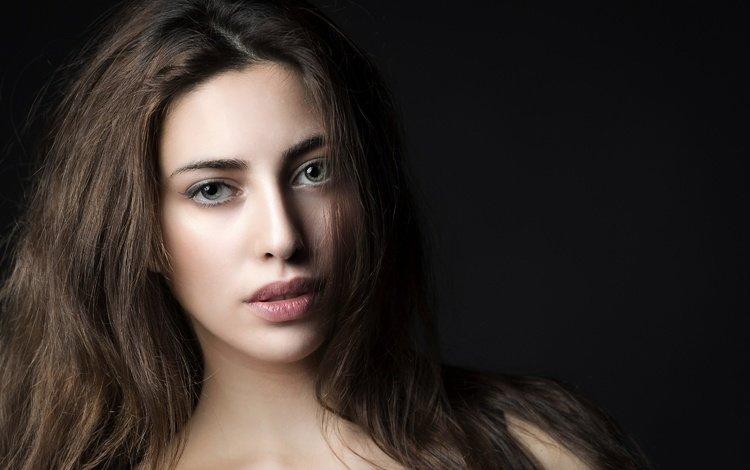 глаза, лицо, девушка, serena, портрет, взгляд, модель, волосы, черный фон, губы, eyes, face, girl, portrait, look, model, hair, black background, lips