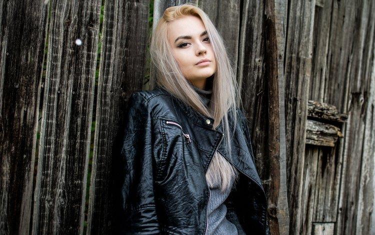 девушка, гозун радослав, блондинка, взгляд, модель, волосы, лицо, кожаная куртка, оля, girl, gozun radoslav, blonde, look, model, hair, face, leather jacket, olya