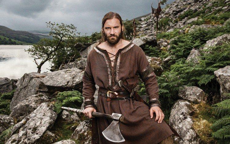 природа, vikings, клайв стэнден, мужчина, топор, сериал, драма, викинги, шторка, викинг, nature, clive standen, male, axe, the series, drama, the vikings, blind, viking