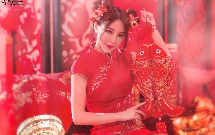 стиль, азиатка, девушка, платье, улыбка, взгляд, волосы, лицо, помада, style, asian, girl, dress, smile, look, hair, face, lipstick