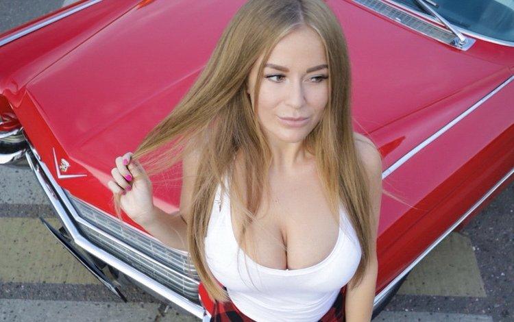 девушка, блондинка, грудь, длинные волосы, маечка, sonya temnikova, girl, blonde, chest, long hair, t-shirt
