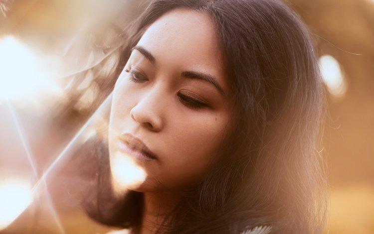 девушка, aleah michele, портрет, взгляд, модель, волосы, губы, лицо, азиатка, girl, portrait, look, model, hair, lips, face, asian