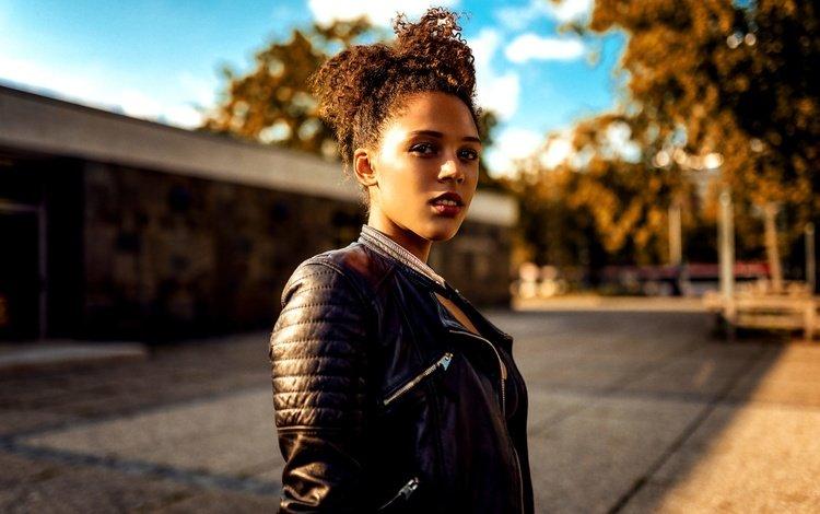 девушка, взгляд, модель, лицо, кожаная куртка, celina, миро hofmann, girl, look, model, face, leather jacket, miro hofmann