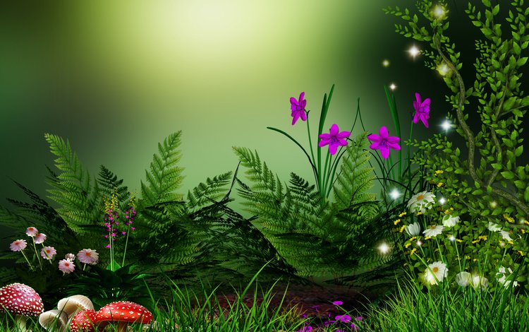 flowers, grass, plants, forest, mushrooms, fantasy, chamomile, fern, green background, amanita