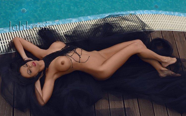 девушка, лежит, бассейн, голая, сексапильная, модел, girl, lies, pool, naked, sexy, model