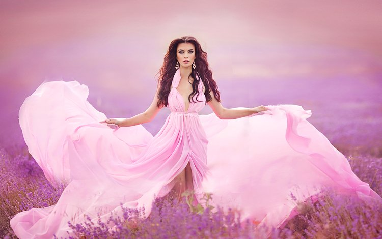 flowers, girl, field, lavender, look, model, face, long hair, pink dress