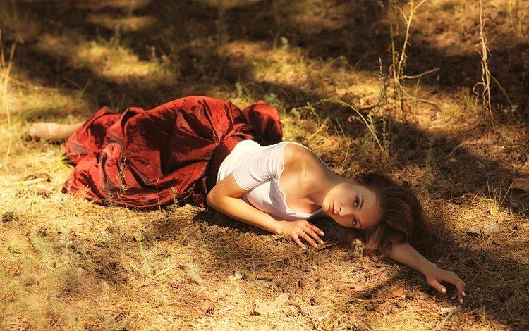 girl, look, skirt, model, hair, face, stay, lying, murat kuzhakhmetov