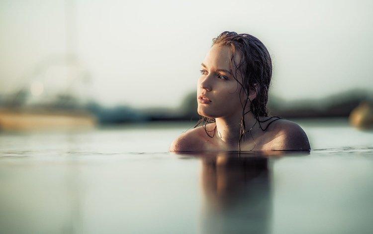 девушка, взгляд, лицо, мокрая, в воде, голые плечи, jacky art, girl, look, face, wet, in the water, bare shoulders