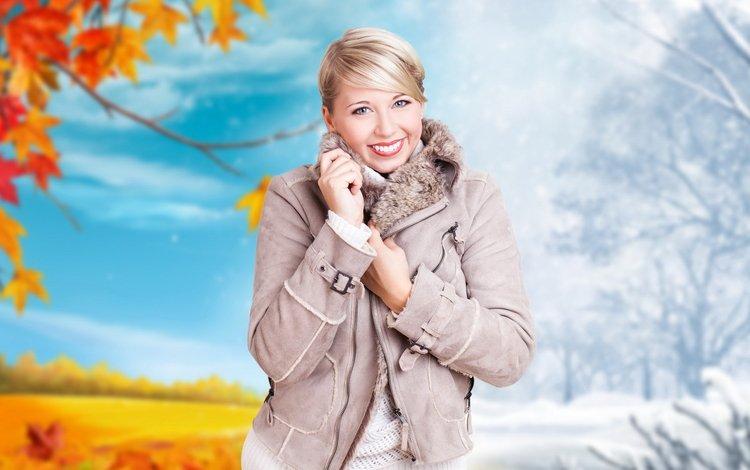 зима, девушка, улыбка, взгляд, осень, волосы, лицо, куртка, winter, girl, smile, look, autumn, hair, face, jacket