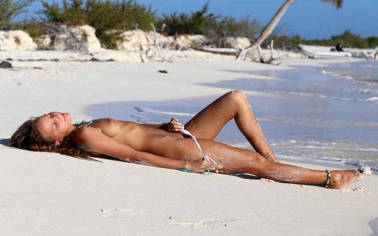 девушка, море, поза, пляж, пушистики, загар, сиськи, блаженство., girl, sea, pose, beach, pussies, tan, tits, bliss.