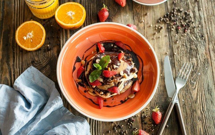 strawberry, berries, citrus, breakfast, chocolate, pancakes