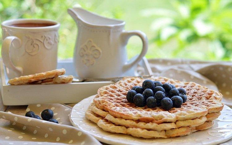 coffee, berries, blueberries, breakfast, waffles