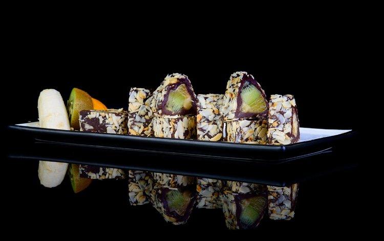орехи, фрукты, киви, шоколад, десерт, банан, пирожное, nuts, fruit, kiwi, chocolate, dessert, banana, cake
