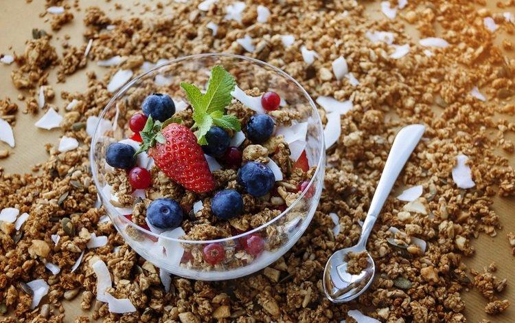 ягоды, завтрак, мюсли, йогурт, овсянка, гранола, berries, breakfast, muesli, yogurt, oatmeal, granola