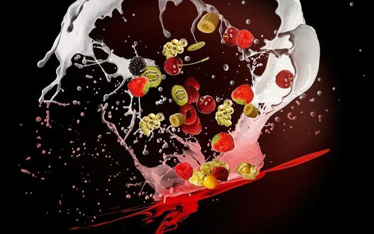 фон, фрукты, брызги, ягоды, всплеск, молоко, background, fruit, squirt, berries, splash, milk
