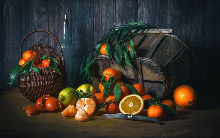 фрукты, апельсины, лимон, корзина, мандарины, натюрморт, лимоны, цитрусовые, fruit, oranges, lemon, basket, tangerines, still life, lemons, citrus