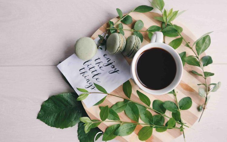 кофе, завтрак, макаруны, миндальное печенье, coffee, breakfast, macaroon, macaroons
