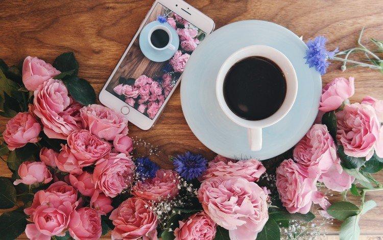цветы, розы, кофе, завтрак, flowers, roses, coffee, breakfast