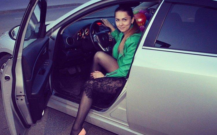 девушка, брюнетка, взгляд, авто, girl, brunette, look, auto