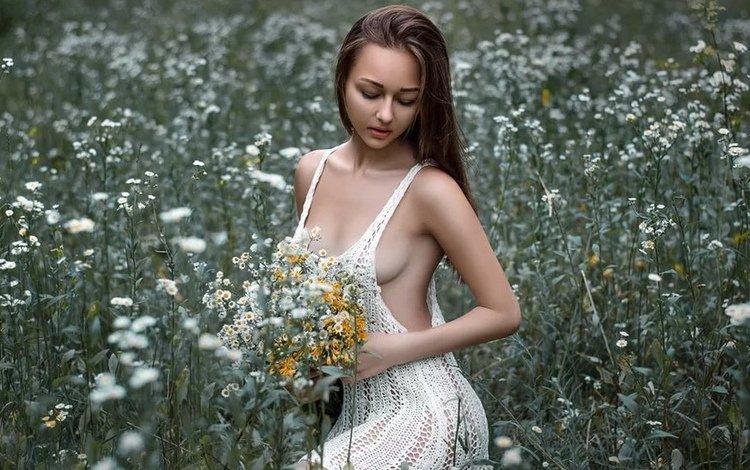 девушка, платье, брюнетка, грудь, белое, шикарная фигура, девушка в поле, girl, dress, brunette, chest, white, great body, the girl in the field