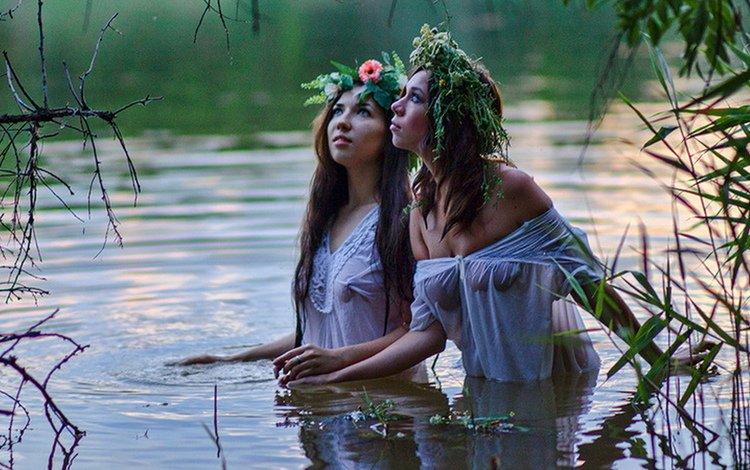 вода, взгляд, девушки, мокрые, грудь, венок, русалки, water, look, girls, wet, chest, wreath, mermaid