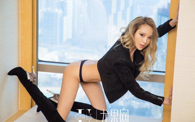 девушка, взгляд, модель, азиатка, сапоги, girl, look, model, asian, boots