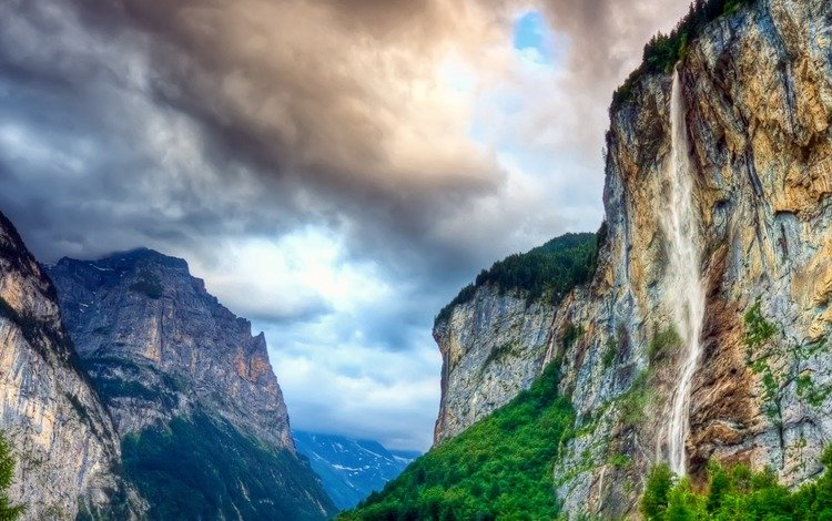 clouds, mountains, waterfall