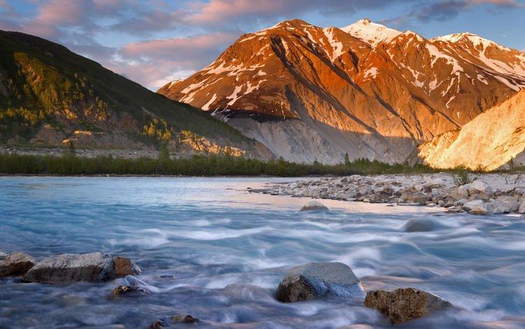 river, mountains, stones