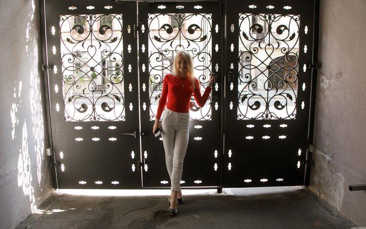 девушка, блондинка, джинсы, girl, blonde, jeans