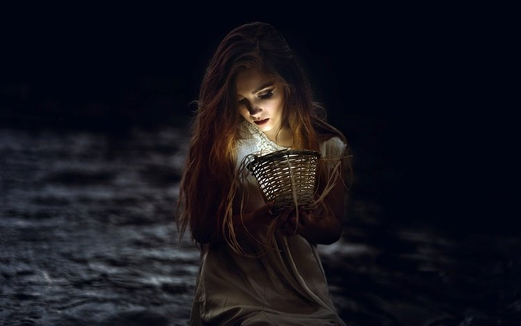 девушка, портрет, лампа, темно, girl, portrait, lamp, dark