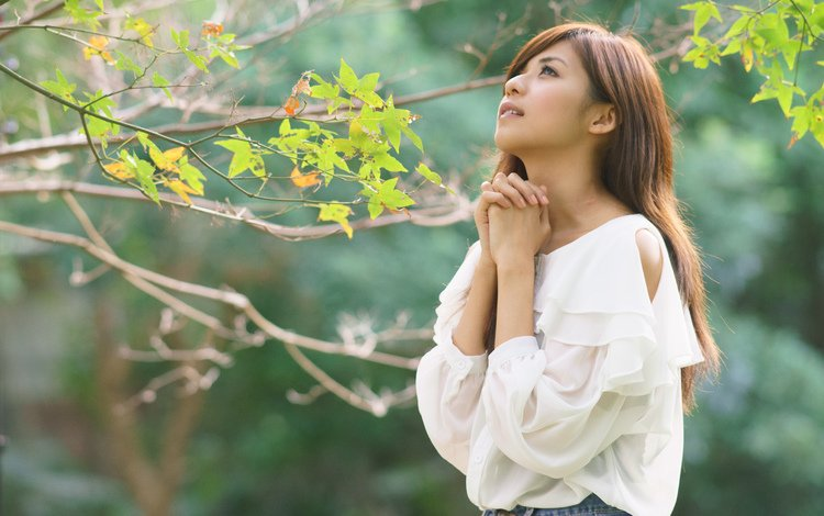 утро, красавица, на природе, открытый, азиат, gевочка, молитва, morning, beauty, nature, outdoor, asian, girl, prayer