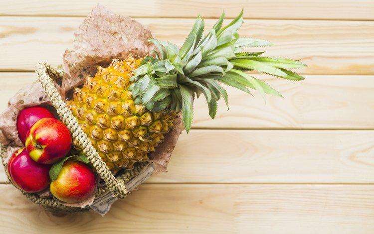 яблоки, корзинка, дерева, ананас, apples, basket, wood, pineapple