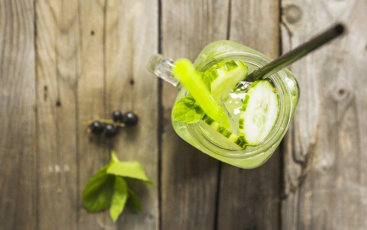 мята, напиток, лёд, огурец, mint, drink, ice, cucumber