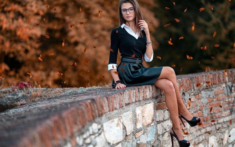 девушка, высокие каблуки, поза, marco squassina, взгляд, очки, модель, милая, милашка, стройная, girl, high heels, pose, look, glasses, model, sweetheart, cutie, slim