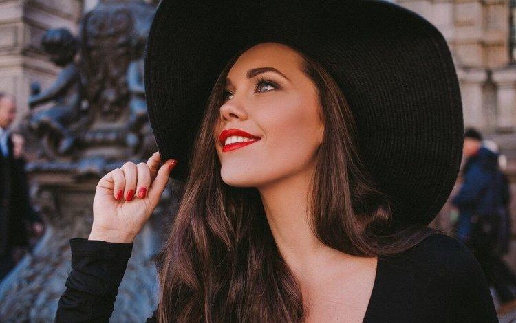 девушка, брюнетка, макияж, длинные волосы, алые губы, девушка в шляпе, girl, brunette, makeup, long hair, red lips, the girl in the hat