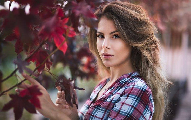 vanya tufkova, листья, девушка, взгляд, модель, волосы, фигура, плечо, рубашка, leaves, girl, look, model, hair, figure, shoulder, shirt