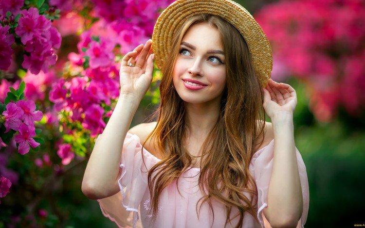 цветы, девушка, улыбка, шляпа, 1, шатенка, flowers, girl, smile, hat, brown hair