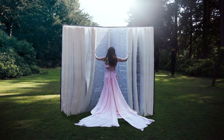 лес, девушка, платье, поляна, книга, forest, girl, dress, glade, book