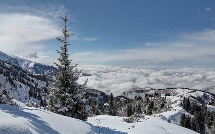 горы, зима, mountains, winter