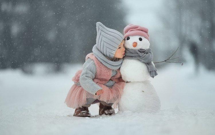 snow, winter, girl, snowman, friends, secret