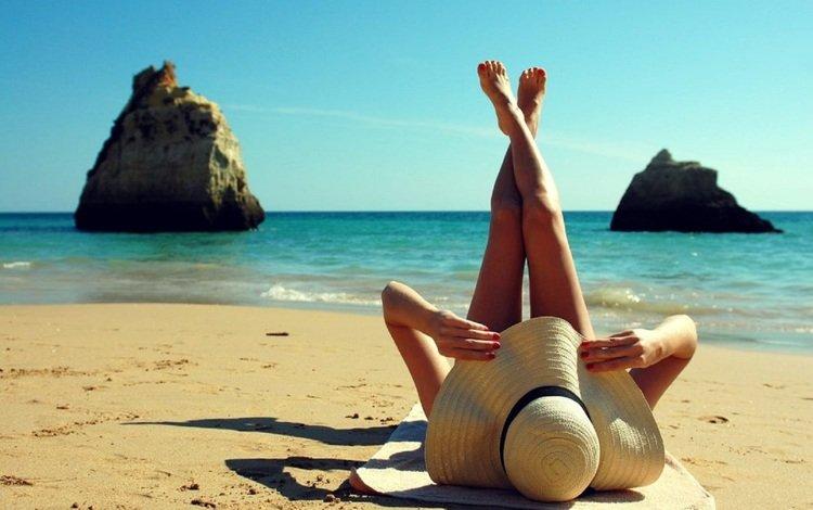 девушка, море, пляж, ноги, шляпа, girl, sea, beach, feet, hat
