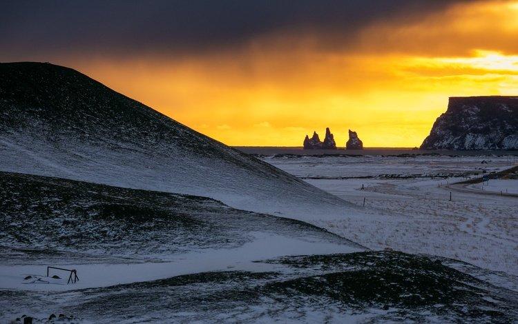 shore, sunset, iceland.